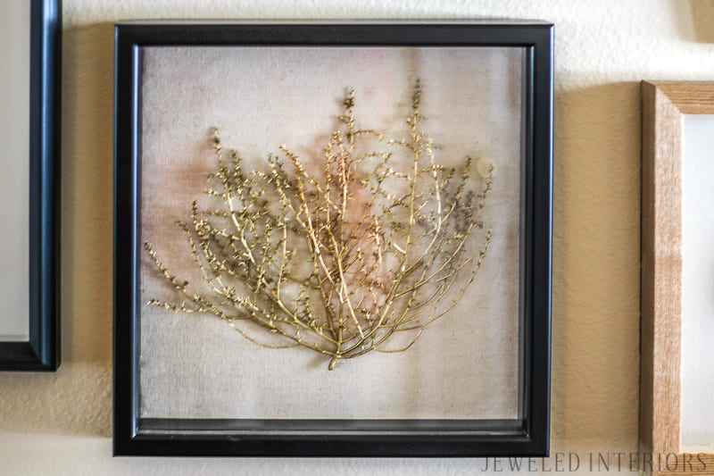 sagebrush art, shadow box, gold, Jeweled Interiros, jeweledinteriors.com, military, base, house, velvet, couch, navy, silver, gold, cowhide, lamp, art, commander, leather, curtains, jute, end table, coffee table, horse, cow, wood, crystal, host,  Air Force, Key Spouse, Wing, commander, rustic, glam, books, idaho