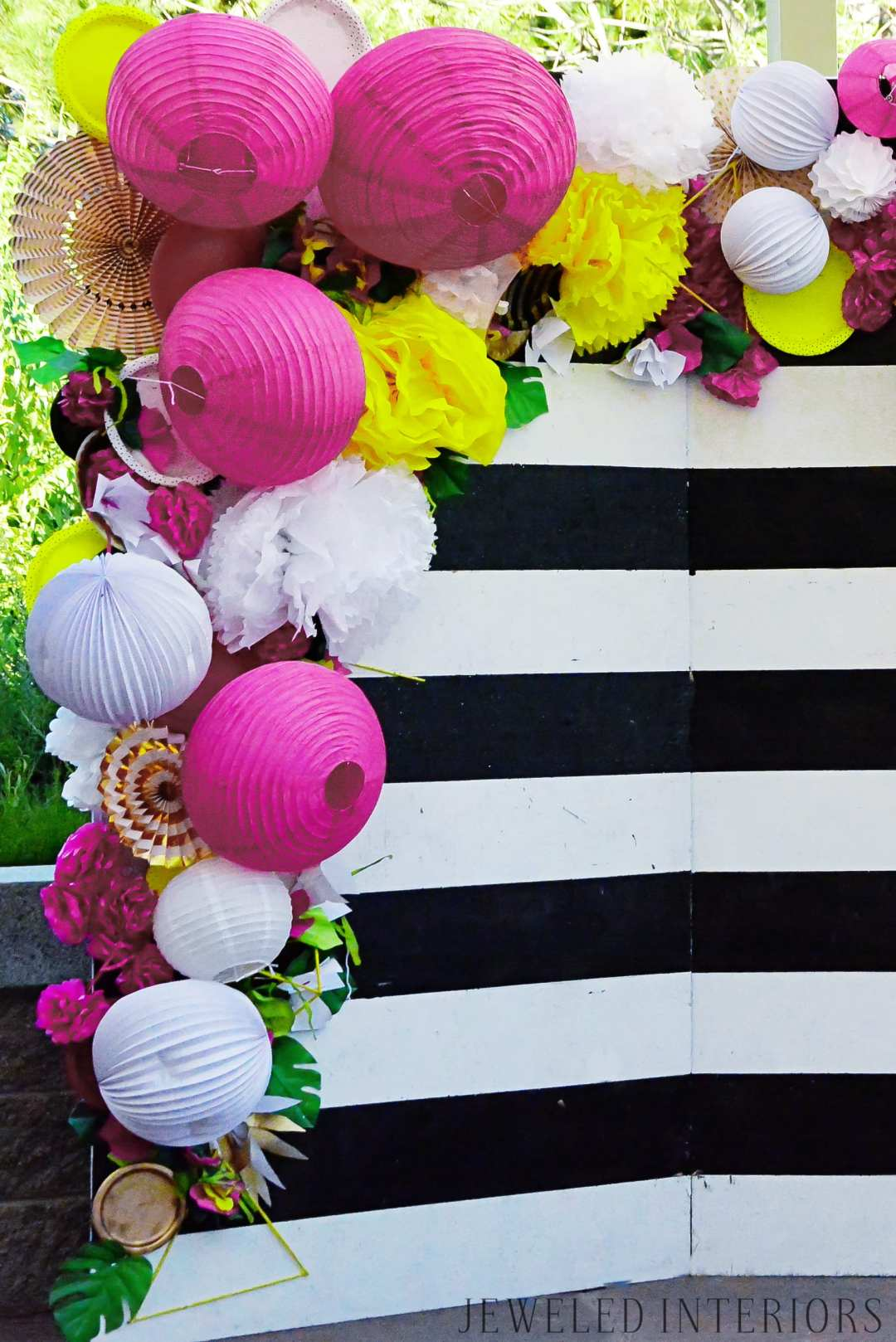 Decorations, decorate, Pineapple, welcome, party, celebration, extravaganza, photo, booth, back drop, candle, DIY, inexpensive, cheap, paper, flowers, hibiscus, welcome, friends, buffet, table, tablescape, napkin, ring, sea shell, sea shells, black, white, gold, purple, fuschia, neon, yellow, green, inexpensive
