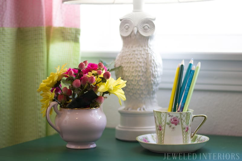Owl, lamp, little, girl, girl's, girls', room, bedroom, timeless, classic, traditional, rocking horse, bunk, bed, desk, wardrobe, dresser, bookcase, sofa, settee, curtains, inexpensive, linens, pillow, nancy drew, tea cup, china, White House, Easter Egg Roll, beautiful, feminine, functional, sentimental, flowers, art, supplies, cork, board, heather bailey,  upholstered, nail head, trim, owl lamp