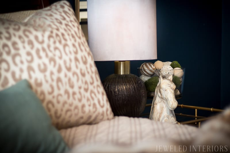 dark, moody, navy, leopard, linen, gold, DIY, art, beautiful, jeweledinteriors, jeweled interiors, flowers, night stand, faux fur, animal print, wood grain, lamp, chocolate, tan, neutrals, blue,  statue, horse, bamboo, glam