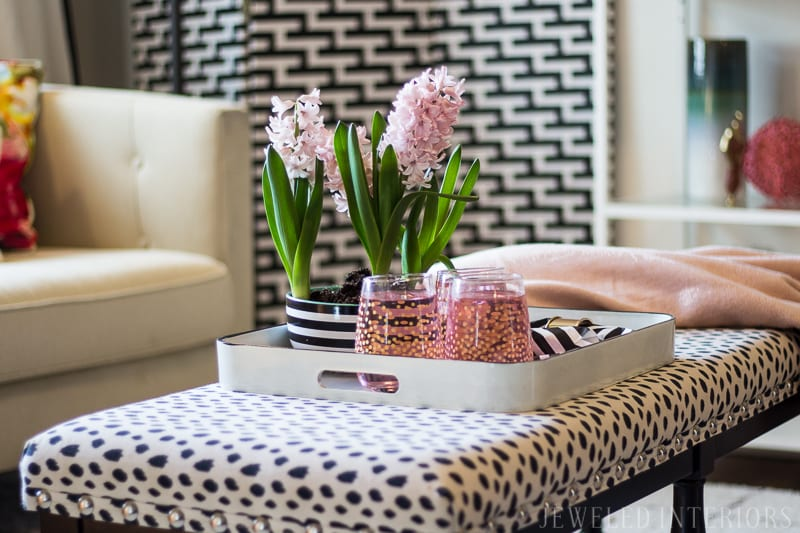 Chic, glam, eclectic, decor, decorate, lamp, ikea, black, white, pink, blush, coral, gold, brass, gallery, wall, pillow, settee, sofa, chair, rug, shelf, style, beautiful, dalmatain, coffee, table, tulip, stripe, milo, baugman, chalk paint, end table, button tuft, charcoal, linen, light, airy, how to, diy, dining room, living room, entry way, military, home, rental, base house, cancer, brain tumor, friend, love,