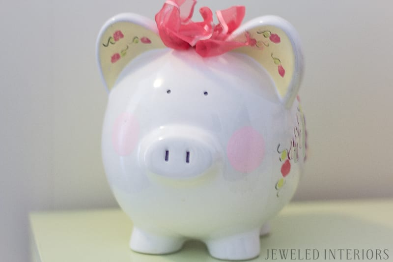piggy bank, little, girl, girl's, girls', room, bedroom, timeless, classic, traditional, rocking horse, bunk, bed, desk, wardrobe, dresser, bookcase, sofa, settee, curtains, inexpensive, linens, pillow, nancy drew, tea cup, china, White House, Easter Egg Roll, beautiful, feminine, functional, sentimental, flowers, art, supplies, cork, board, heather bailey,  upholstered, nail head, trim, owl lamp, bedding, linens