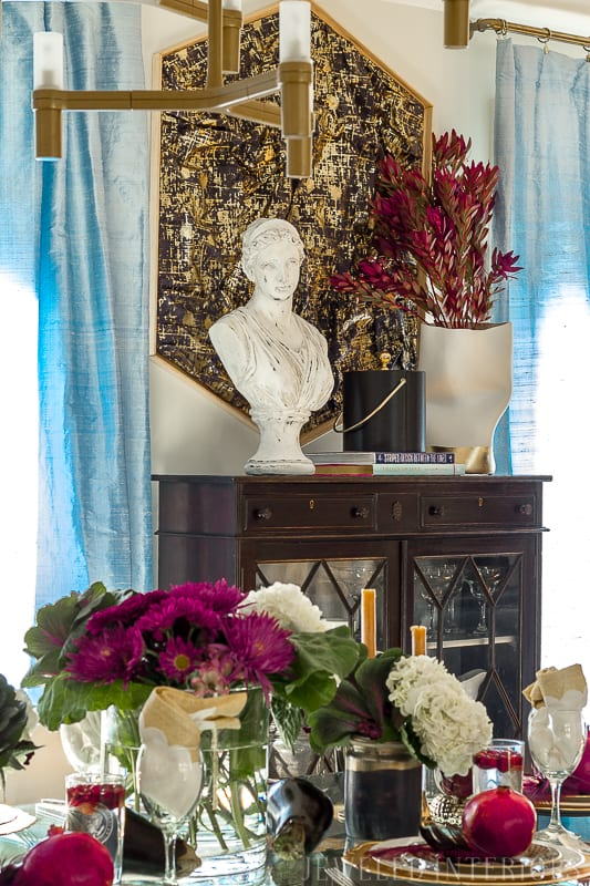 ECLECTIC DECOR IDEAS | Jeweledinteriors One Room Challenge BIG REVEAL ||  ORC, One Room Challenge, House Beautiful, Jeweled Interiors, Big reveal, week 7, blushingly romantic, great-room, living room, dining room, make-over, makeover, make, over, beautiful, velvet, silk curtains, fabric.com, DIY, tutorial, burgundy, blush, colorful, art, marble, leopard, rug, glass, table, brass, panton chairs, stripes, wallpaper, built in, shelves, painted sofa, antiques, mid century, MCM, vintage, eclectic, milo baughman