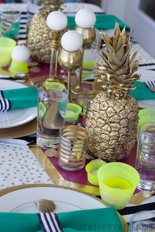 Decorations, decorate, Pineapple, welcome, party, celebration, extravaganza, photo, booth, back drop, candle, DIY, inexpensive, cheap, paper, flowers, hibiscus, welcome, friends, buffet, table, tablescape, napkin, ring, sea shell, sea shells, black, white, gold, purple, fuschia, neon, yellow, green, inexpensive, spray paint
