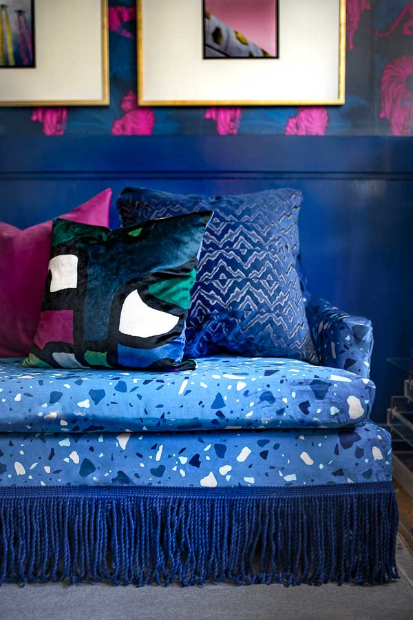 terrazzo sofa, velvet, terrazzo, terrazzo upholstery, terrazzo fabric, custom sofa, unique sofa, terrazzo couch, chair, bullion, fringe, roostery pillow, spoonflower velvet upholstery, fringe market, fringe, miles redd, Luke Edward hall