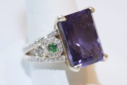 Amethyst Ring with Emerald and Diamond set in 14 karat Gold