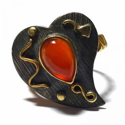 Sterling Silver Red Onyx Dual Tone Ring Wedding Rings Silver Women Red Pack Of 1 Ring Ideal for Women - Jewelfort