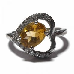 Sterling Silver Yellow Citrine Engagement Ring Wedding Rings Silver Women Citrine Pack Of 1 Ring Ideal for Women - Jewelfort