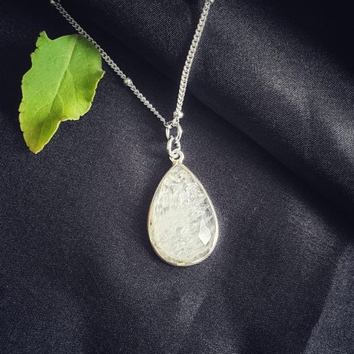 Sterling Silver White Moonstone White Pear Necklace Everyday White Necklace Necklace Moonstone White Jewellery Pack Of 1 Necklace Ideal for Women