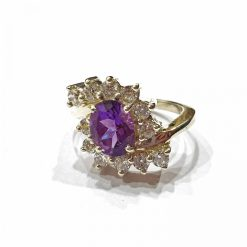 Sterling Silver Purple Amethyst Tiara Ring Everyday Rings jewellery rings for girls jewellery for women Pack Of 1 Ring Ideal for Women