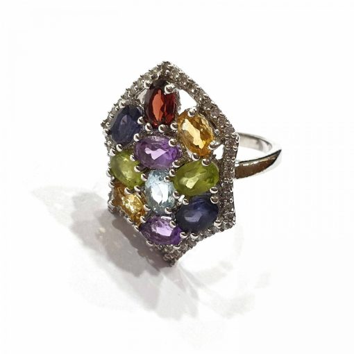 Sterling Silver Multi Multi Hexagon Natural Multi Original Stones Ring Everyday Silver Rings Rings Rings for Women jewellery for women Pack Of 1 Ring Ideal for Women