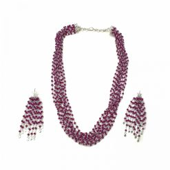 Sterling Silver Red Ruby Topknot Rosary Necklace Everyday Gifts for Women gemstone necklace gifts for mother gemstones Pack Of 1 Necklace and 1 Pair Earring Ideal for Women
