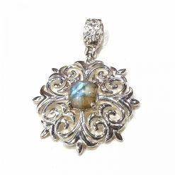 Sterling Silver Grey Labradorite Floral Pendant Everyday Pendant gifts for mother wedding jewellery Nazariya Bracelet Pack Of 1 Pendant Ideal for Women