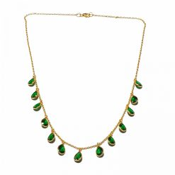 Sterling Silver Green Zircon Emegre Necklace Ethnic Silver Necklace Gold Jewelry Silver Jewelry Gold Necklaces Pack Of 1 Necklace Ideal for Women::Girls