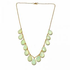 Sterling Silver Aqua Chalcedony Emegre Necklace Contemporary Silver Necklace Gold Jewelry Silver Jewelry Gold Necklaces Pack Of 1 Necklace Ideal for Women::Girls