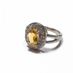 Sterling Silver Yellow Citrine Diti Ring Contemporary Silver Rings Diti Ring Yellow Ring Rings for Women Pack Of 1 Ring Ideal for Women::Girls
