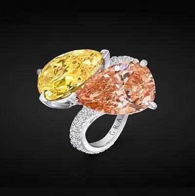 Кольцо с желтым и коричневато-оранжевым каплевидными бриллиантами