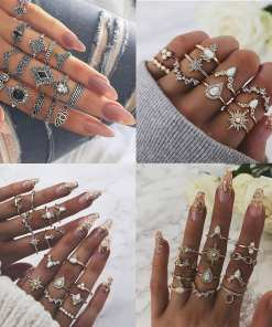 pcs/setBohoMidiFingerElephantFlowerRingsSetforWomen
