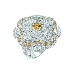 """Particulière"" ring in 18K white gold set with brilliant-cut brown diamonds and white diamonds. CHANEL Joaillerie"