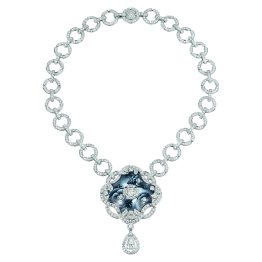 """Fascinante"" necklace in 18K white gold set with a 2-carat pear-cut diamond, 2 brilliant-cut diamonds for a total weight of 1.3 carat, 713 brilliant-cut diamonds for a total weight of 19.5 carats and enamel. CHANEL Joaillerie"
