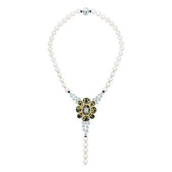"""Mystérieuse"" necklace in 18K white and yellow gold set with diamonds, cultured pearls, rock crystal cabochons and black lacquer. CHANEL Joaillerie"