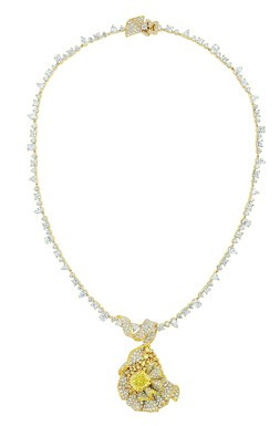 Fronce Diamant Jaune Necklace. 750/1000 yellow gold, diamonds and yellow diamonds.