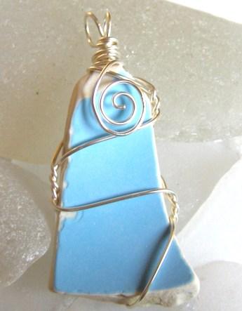 blue sea pottery pendant 20