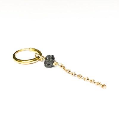 Rough diamond ørering med sort rå 4,5 mm diamant