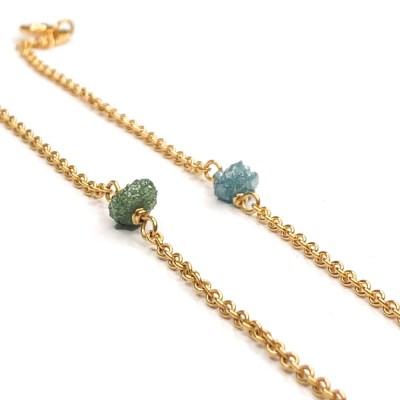 Rough Diamond bracelet med blå og grøn diamant