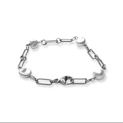 Blink armbånd med barokke perler i sølv