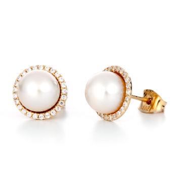 Σκουλαρίκια Χρυσά Με Μαργαριτάρι Και Στεφάνι Ζιργκόν