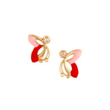 Σκουλαρίκι Πεταλούδα Παιδικό Χρυσό Με Ζιργκόν