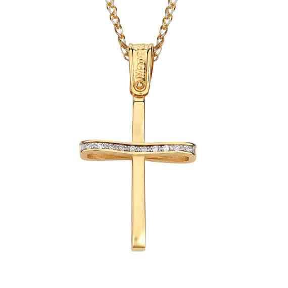 Σταυρός Μοντέρνος Λεπτός Με Ζιργκόν 002875