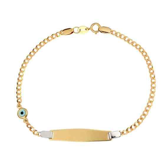 Βραχιόλι Ταυτότητα Ματάκι Χρυσό Και Λευκόχρυσο 002994