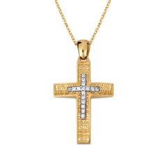 Σταυρός Ζαγρέ Δίχρωμος Χρυσός Με Ζιργκόν Διπλής Όψης 14Κ