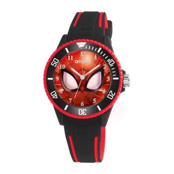 AM:PM Marvel Spiderman Black Rubber Strap Kids' Watch MP187-U625