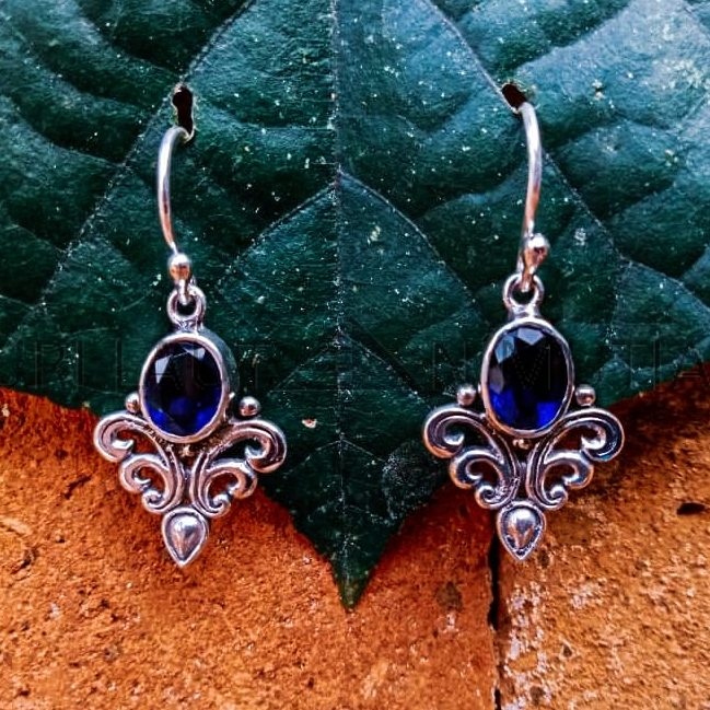 NY-ER017-Bali Ornate Dangle Earrings With Gemstone