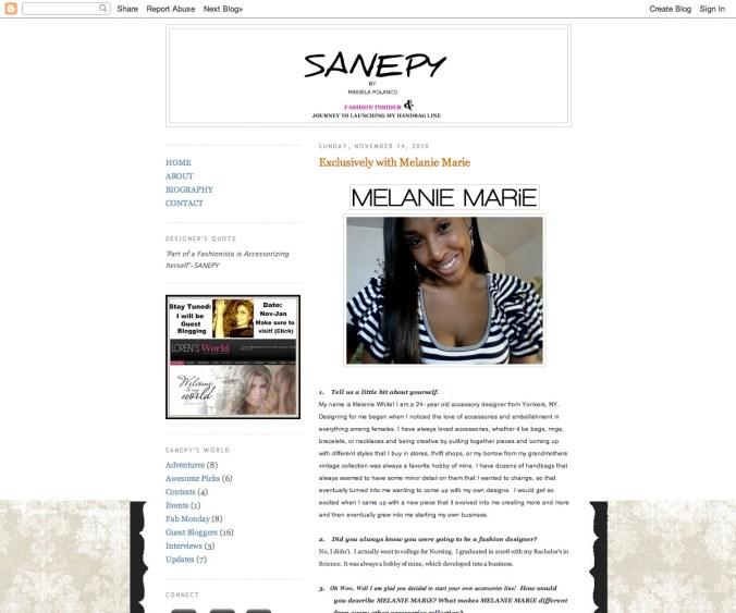 Sanepysworld.com Featured MELANIE MARiE November 2010