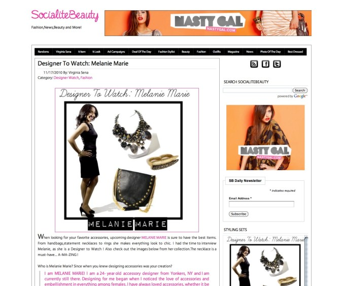 Socialite-beauty.com Featured MELANIE MARiE November 2010