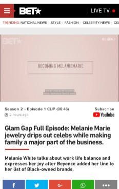 Melanie Marie featured on BET's The Glam Gap presented by Clinique February 2021