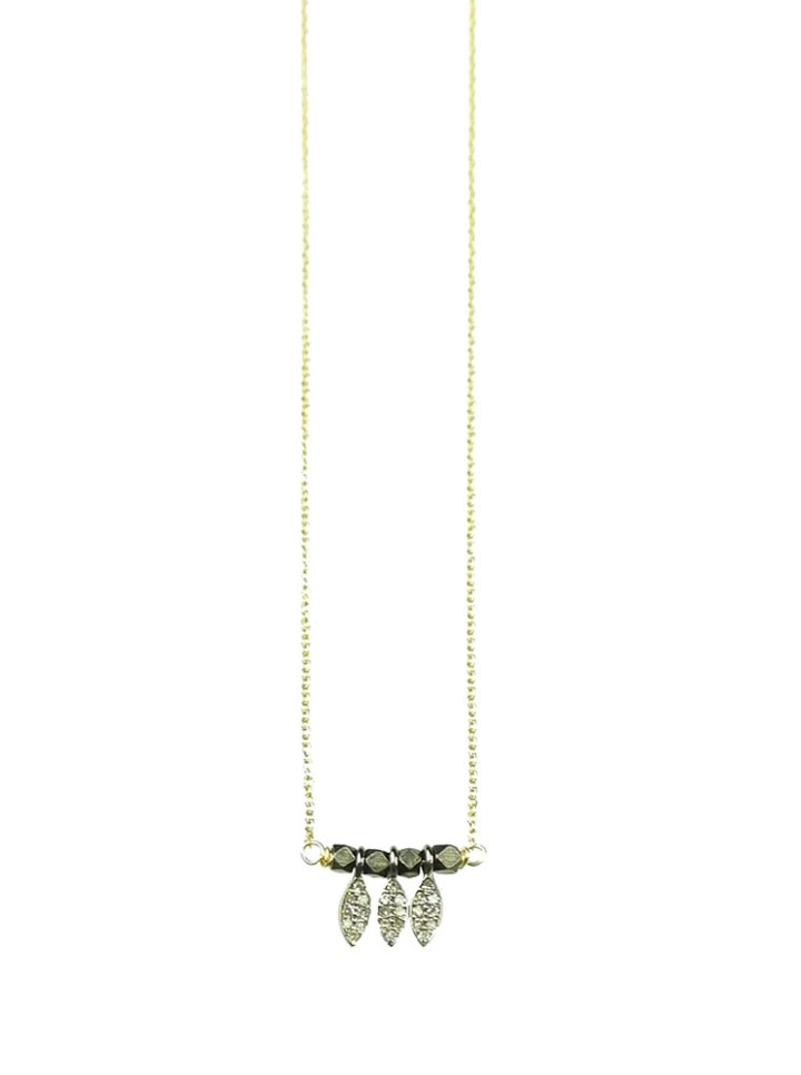 Pave Diamond Triple Leaf Delicate Necklace