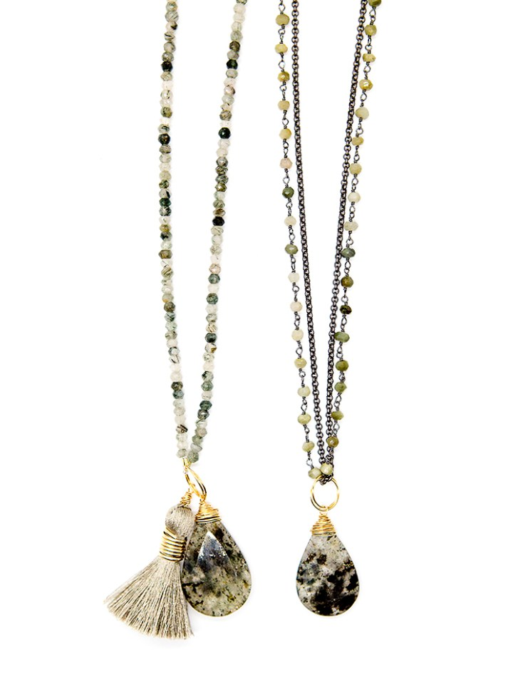 Moss agate long necklace