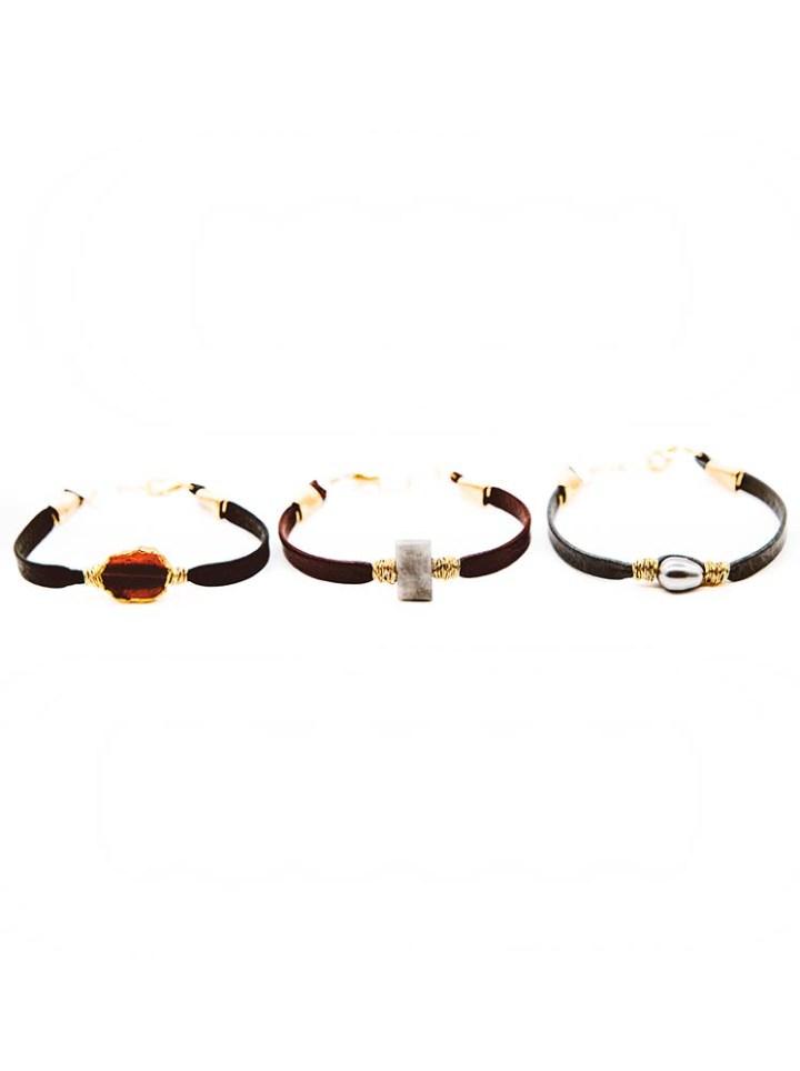 granet bracelet, silverite bracelet, pearl bracelet, leather bracelet