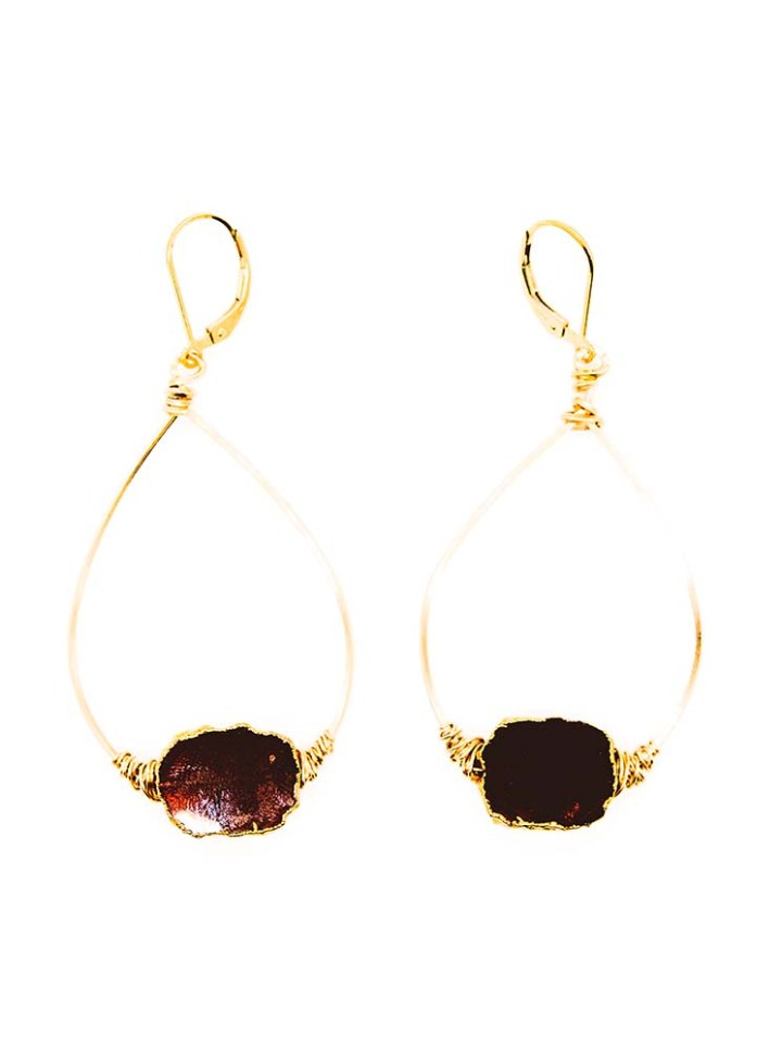 garnet slice freeform wrapped hoops