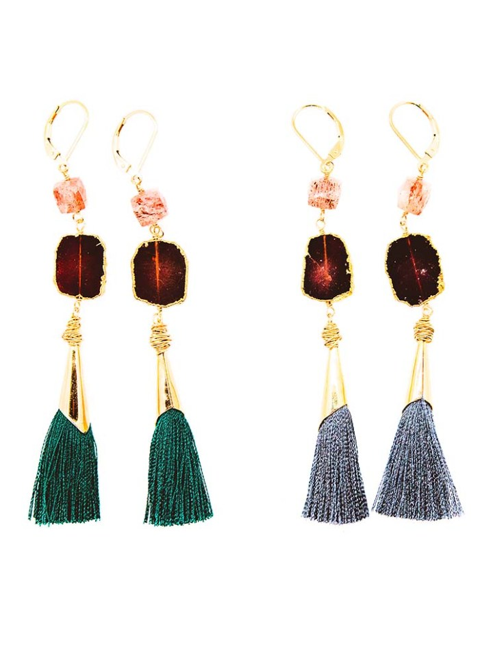 garnet strawberry quartz capped tassel earring