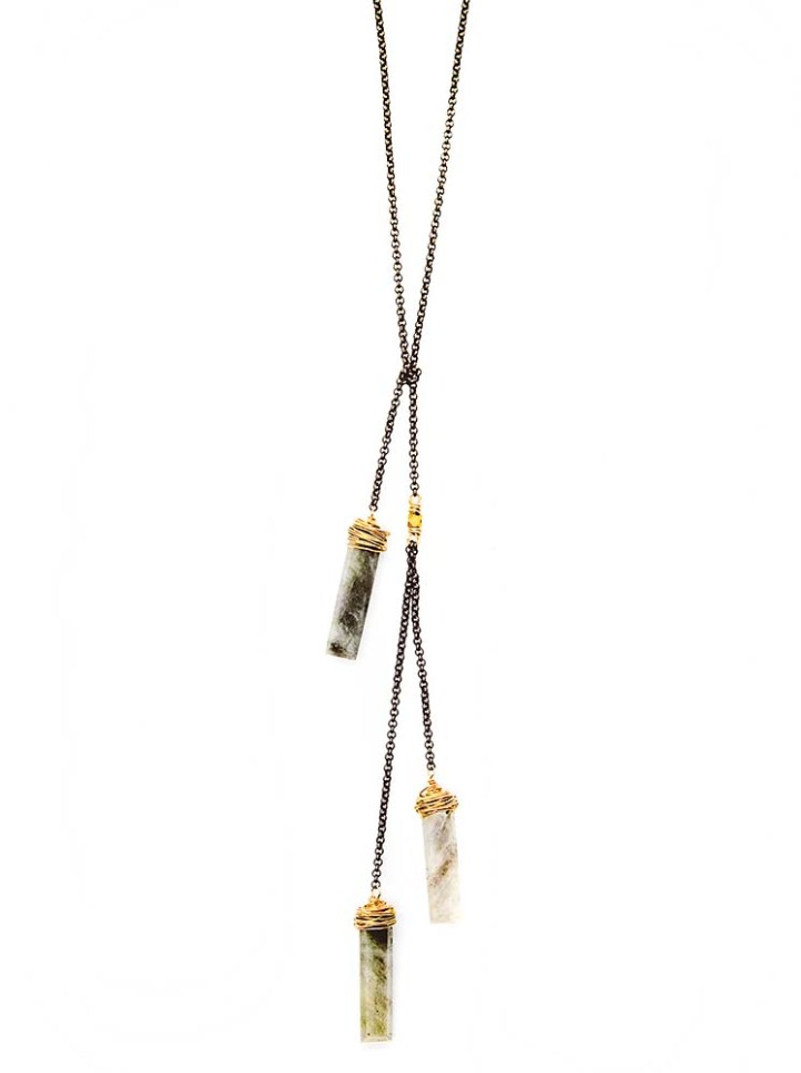 silverite triple rectangle lariat necklace