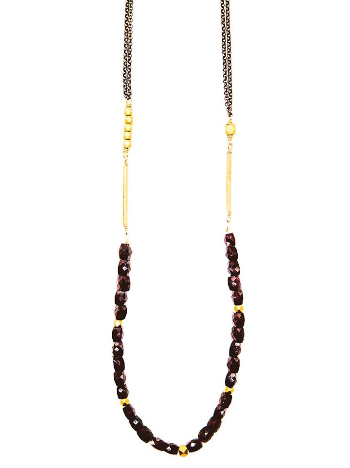 garnet strung long necklace