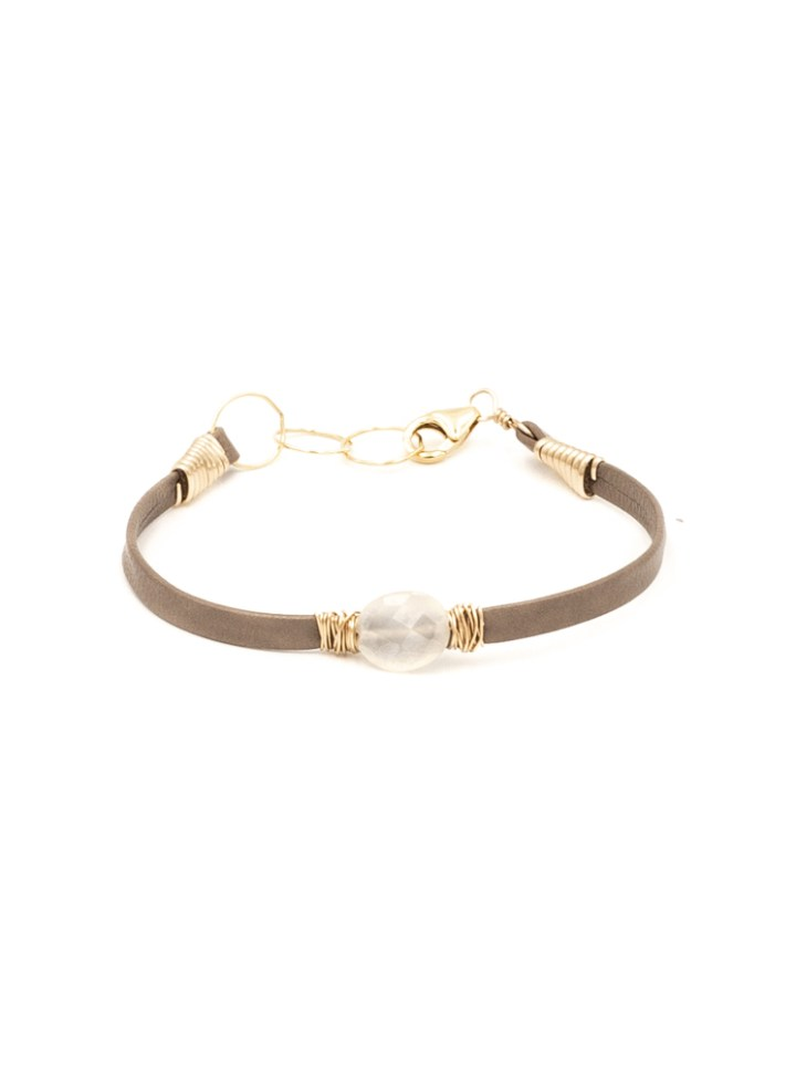 pearl chalcedony oval thin leather wrapped bracelet