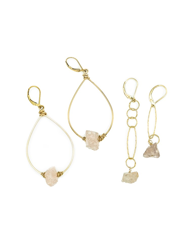 raw rose quartz hoops raw rose quarts mismatched linear earrings