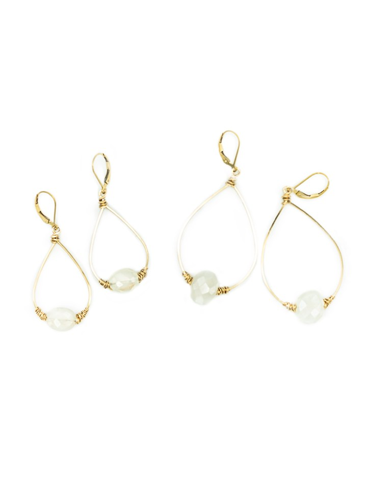 pearl chalcedony large and small wrapped hoops
